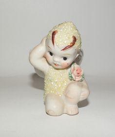 Vintage Bisque Coralene Yellow Butterfly Fairy Pixie Snow Baby Figurine Japan | eBay