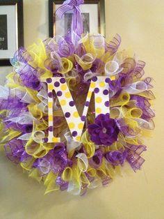 Yellow & purple Curly deco mesh wreath.