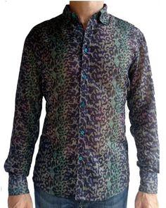 Eva Putu Blue Green Leopard Print Shirt #EvaPutu #menswear #wholesale #shoptoko