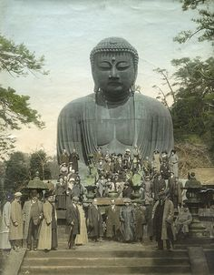 Victorian travelers visiting a giant Buddha ~ perhaps in Japan