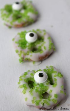 With a few simple ingredients, kids can make their own Monster Pretzels! Perfect indoor kitchen activity!