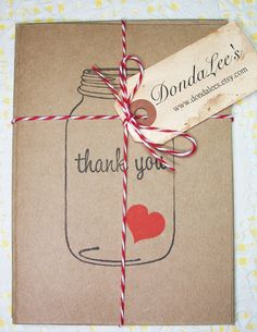 6 Hand Stamped Ball Jar Thank You Cards by dondalees on Etsy, $7.00