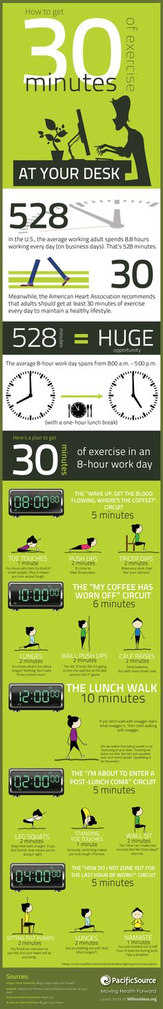 How to Get 30 Minutes of Exercise at Your Desk by millionideas.org #Health #Fitness #Exercise #Work