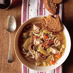 Chicken Soup with Cabbage and Apple | CookingLight.com #myplate #protein #veggies #fruit
