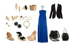 For the evening, Royal blue maxi dress by newlook, different choices of heels whether nude heels, summer black wedges, or brown heel sandals, small drawstring black bag or leopard oversized clutch (not shown), fancy rings and cuff or soft rings and golden bracelets, blazer for colder nights :)