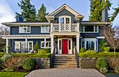 Offbeat but love, the navy, the white and the red front door!Houzz