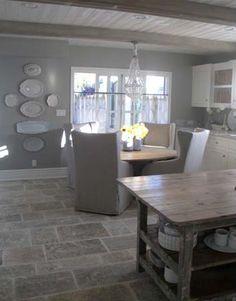 Eat-In Kitchen ... Grey stone flooring