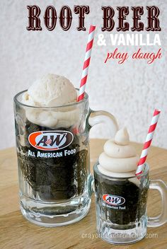 Root Beer Vanilla Float Play Dough by Crayon Box Chronicles.  Invitation to create with homemade scented play dough, straws, ice cream scoop, and A&W mugs.