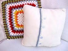 Fleece cushion & crochet sewing machines, crochet squares, cushion covers, crochet pillow, pillow covers, granny squares, bunni mummi, crochet cushions, fleec cushion