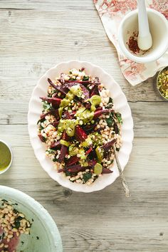 grapefruit roasted beets, greens + white beans with pistachio butter from @Laura | The First Mess