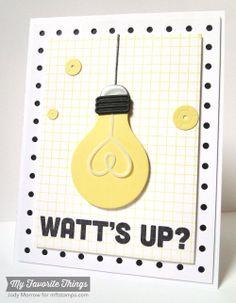 Grid Background, Watt's Up?, Lightbulb Die-namics, Pegboard Cover-Up Die-namics, Sequins Die-namics - Jody Morrow #mftstamps