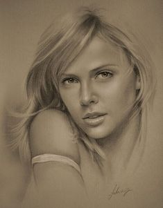 Pencil Art of Charlize Theron
