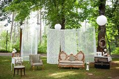lounge areas, vintage, lace curtains, photo booths, blush pink