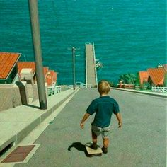 """""""Why Boys Need Parents"""": Update: Thanks to pazuzu for quickly identifying the source of this painting.  It's an oil on canvas by Ron Francis titled """"Skateboarding"""". Francis writes: """"This image was inspired by a childhood memory. The suburb was somewhere around the north side of Sydney harbour and I was the boy on the skateboard."""""""