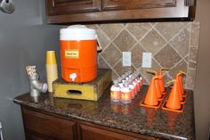 Drink Station at a Construction Party #construction #partydrinks