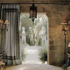 John Saladino's Montecito villa ~ stunning use of draperies and stone