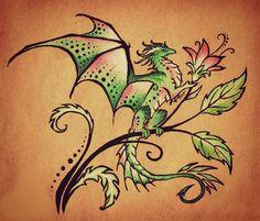 Cute watermelon colored dragon tattoo