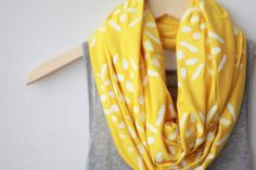 You can never have too many infinity scarves. SCARF - Screen Printed - Infinity Scarf - White Cross-Diamonds on Yellow via etsy