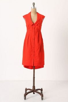 """Swapped. Anthropologie Four Corner Shirtdress, size 10. So bummed, but this was way too small for my bust. Limited. Or sell for $60. Flat measurements: 19"""" bust, 16"""" waist. No stretch. Missing buttons at hip pockets."""