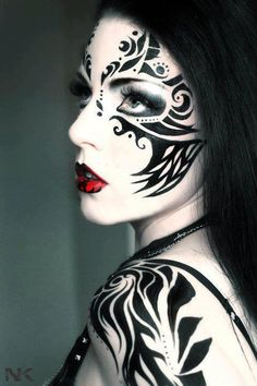 face paintings, body paintings, makeup, red lips, beauti, paints, black white red, face art, face tattoos