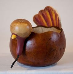 Hand-crafted turkey Gourd
