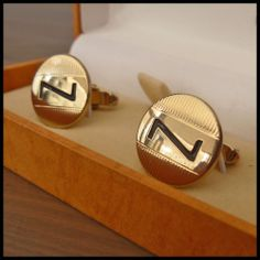 BUCKINGHAM Vintage NOS Yellow Gold Cufflinks Rare Initial Letter Z Original Box