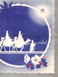 Wise Men Camels Star of Bethlehem Vintage Christmas Card