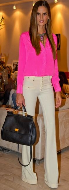 Chic trouser cream pants with pink blouse colored pants, cream pants outfit, pink outfits for summer, fashion styles, blous, white pants, white jeans, spring fashion for work, neon pink