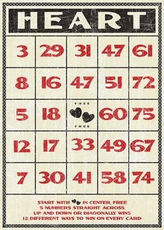 Free Valentines vintage style bingo card by Tonya Doughty, via Flickr
