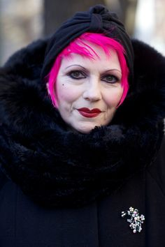 ADVANCED STYLE: Shocking Pink, this will be me! face, pink hair, inspir women, gorgeous style, funky hair, age grace, advanc style, style blog, style fashion