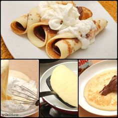 Crepes can be either savory or sweet. The following recipe uses Nutella (a chocolate hazelnut spread) as the filling, although any other sweet filling will also work with this recipe: sweetened fresh fruit, jam, or custard. Whisk together...