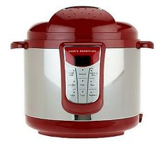 Cooks Essentials 5 Qt Digital Stainless Steel Pressure Cooker In Red