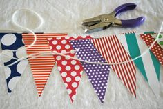 Idea for classroom decoration - hanging triangle banners