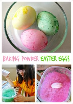 Baking Powder Easter Eggs - see how we decorated this egg-ploding eggs. A fun way for kids to observe cause and effect and create colorful eggs.