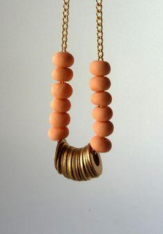peach beaded necklace #necklace #brass #gold #beaded #discs #handmade #ooak #ammjewelry