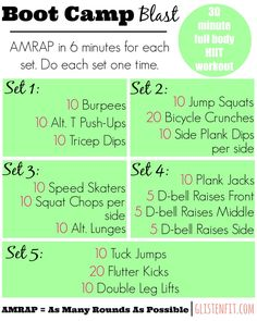 Full body HIIT workout to burn fat. Click the link for a video to see how to do the moves!