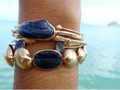 blue and gold beach bracelets