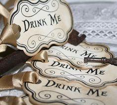 DRINK ME-Vintage Style Tags-Birthday-Wedding-TeaParty-Alice Wonderland-Beautiful | eBay