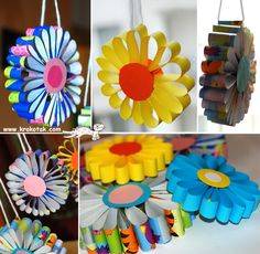 idea, flower crafts, hanging flowers, christmas tree decorations, paper flowers