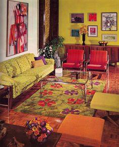 interior design, living rooms, color schemes, color combos, colors, vintage pictures, retro interior, vintage interiors, vintage homes