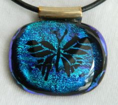 Butterfly Fused Glass Dichroic Shades of Blue by uniquenique, $28.00 #onfireteam #lacwe #fest #tbec #jewelry #pendant #butterfly #handmade #fusedglass