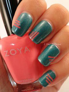 coral, color, manicur, nail arts, tape