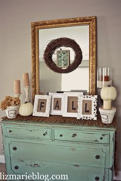 Fall Decor at lizmarieblog.com. Love the burlap in the frames. Could maybe replace burlap in the frames with fall themed scrap book paper and still spell out FALL!!