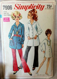 Vintage 1960s Simplicity Sewing Pattern for Shirt, Mini Dress, and Pants.