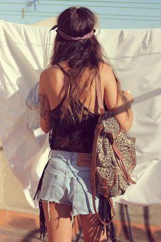 jean shorts, hipster, fashion, coachella, bag