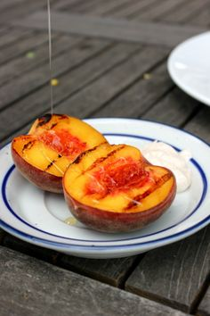 grilled peaches with honey and cinnamon yogurt plus an entire grilled ...