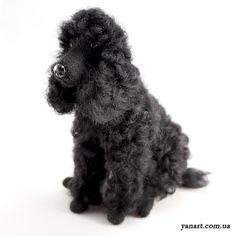 Black Poodle  Needle Felted Dog