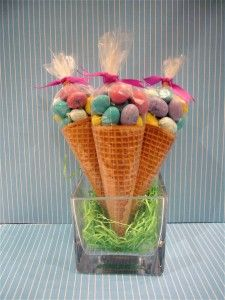 M & M Cone favors or little eggs in the cones too:) cute idea.