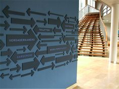 Which way to go?  This wall graphic is very artistic and contrasts well with light floors and stairwell.