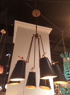 """Great-looking metal and gold-leafed """"Jean Louis"""" chandie inspired by 1950's French design from Currey & Company. #hpmkt #stylespotters (M-110, Currey & Company)"""